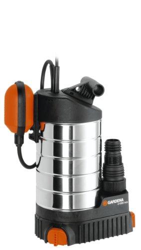 Gardena Premium Tauchpumpe 21000 inox: Klarwasserpumpe mit 21000 l/h Fördermenge, leiser und wartungsfreier 1000 W Motor, mit Schwimmschalter sowie 10 m langem Anschlusskabel (1787-20)