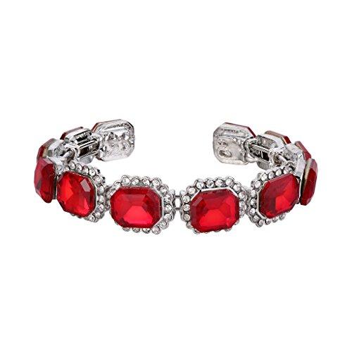 Clearine Damen Hochzeit Braut Multi Emerald Cut Kristall Offen Bangle Elastisch Offene Armreif Armband Rubin Rot Silber-Ton