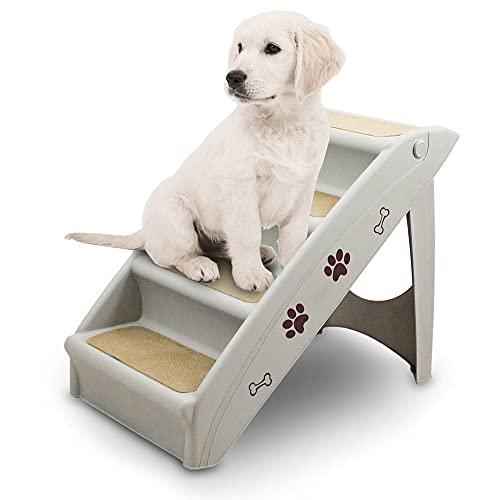 ANIMEL Hundetreppe Tiertreppe Welpentreppe Treppe Hund Katze Einstiegshilfe für Auto, Bett, Couch bis 100kg Weezi