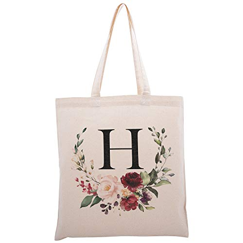 Personalized Floral Initial Cotton Canvas Tote Bag for Events Bachelorette Party Baby Shower Bridal Shower Bridesmaid Christmas Gift Bag | Daily Use | Totes for Yoga, Pilates, Gym, Workout | #2 - H
