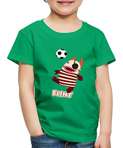 Sorgenfresser Flint Pirat Spielt Fußball Kinder Premium T-Shirt, 122-128, Kelly Green