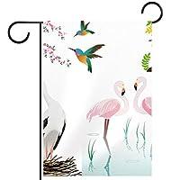 ガーデンサイン庭の装飾屋外バナー垂直旗フラミンゴと花 オールシーズンダブルレイヤー