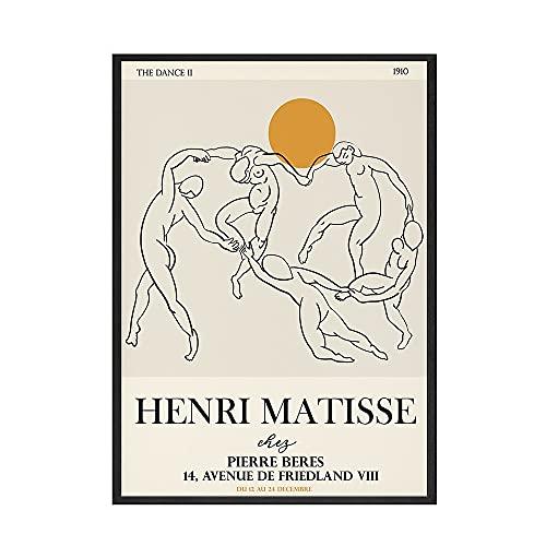 Henry Matisse carteles e impresiones retro línea abstracta arte de pared cuadros retro sala de estar pinturas de lienzo sin marco A5 40x60cm