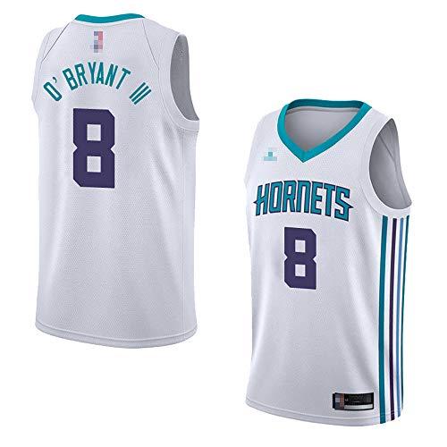 Wo nice Jerseys De Baloncesto De Los Hombres, Charlotte Hornets # 8 Johnny OBryant Uniformes De Baloncesto De La NBA Tops Deportivos Camisetas Sin Mangas Chalecos,Blanco,L(175~180CM)
