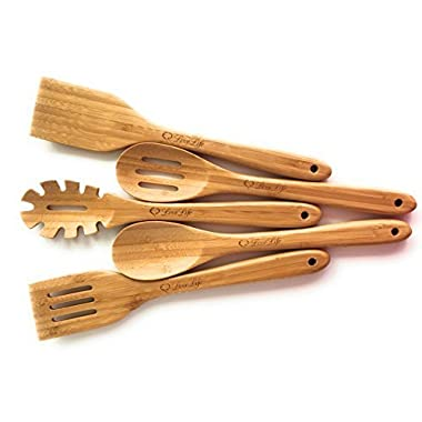 SUPER SMOOTH Bamboo Wooden Utensil Set (5 piece)-Solid-No Splinters-Non Toxic-Eco Friendly-Ergonomic Design-Stylish-Classic-MATCHING UTENSILS HOLDER AVAILABLE