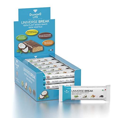 UNIVERSE BREAK - Barrette bilanciate 100% vegetali - Gusto Cocco - 20x40g - 30% proteine, 40% carboidrati, 28% cioccolato fondente - Vegano, Senza glutine, Senza lattosio, No ogm - Diamond Life