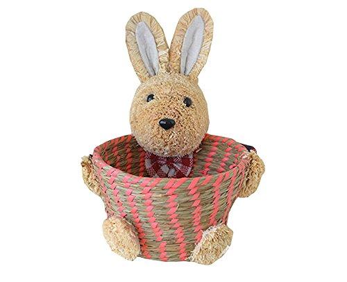 Lovely Cartoon Rabbit Handmade Straw Braid jewelry Storage Basket Desktop Debris Storage Makeup Box Household Eco-friendly Bag (Red)