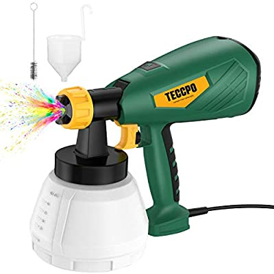 Paint Sprayer, TECCPO 500 Watts Up to 100 DIN-s, 800ml/min HVLP Spray Gun, Spraying Disinfectant, with 1300ml Detachable Container, 3 Copper Nozzles & 3 Spray Patterns, Adjustable Volume, for Home