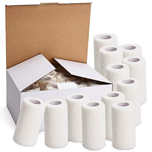 TOBWOLF 12 Stück Kohäsive Bandage Fixierbinde Selbsthaftend Elastisch (10cm*4.5m, Weiß)