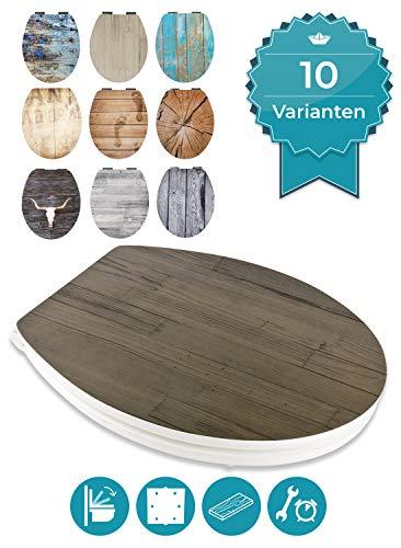 Calmwaters® WC Sitz Holz mit Absenkautomatik Motiv Wood Anthrazit, Fast-Fix-Befestigung aus Metall, universale O-Form, stabiler Holzkern Toilettendeckel, Komfort Toilettensitz - 26LP5385