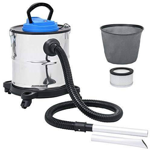 Galapare Aspirador de Cenizas para Estufa de Pellets, Aspiradora de Cenizas Filtro HEPA 1200 W 20 L Acero Inoxidable