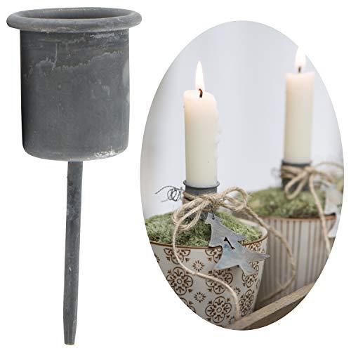 LS-LebenStil Stabkerzen-Halter Grau 8cm Metall Spieß Kerzenständer Kerzenleuchter