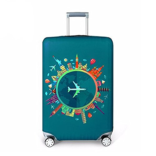 Cubierta de equipaje Funda de maleta 18-32 pulgadas de fibra de carbón de bambú cubierta de equipaje Poliéster equipaje de viaje cubierta de la caja protectora (color 2, S)