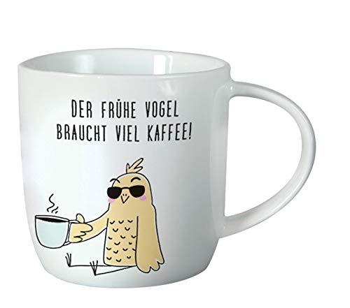 Grafik-Werkstatt Kaffeetasse mit Spruch 300 ml | Porzellan Tasse zum verschenken | Viel Kaffee, weiß