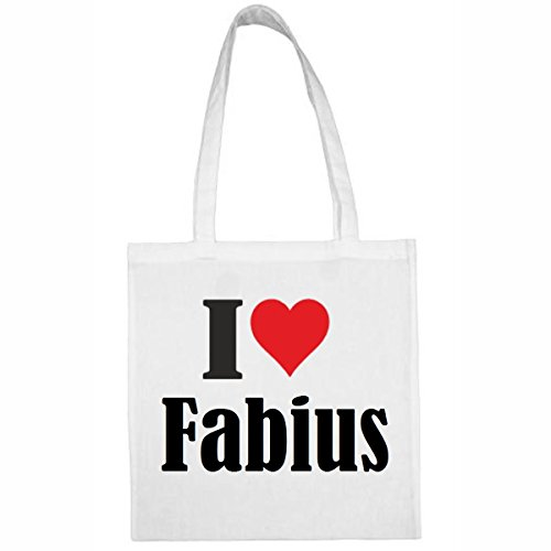 Tasche I Love Fabius Größe 38x42 Farbe Weiss Druck Schwarz