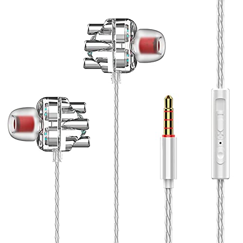 JKRED A6 Clear Case Dual Moving Coil Unit 3.5mm Wired Headset Super Bass Earbuds with Microphone in-Ear HiFi Stereo Noise Isolating Ergonomic Sports Headphones (White)