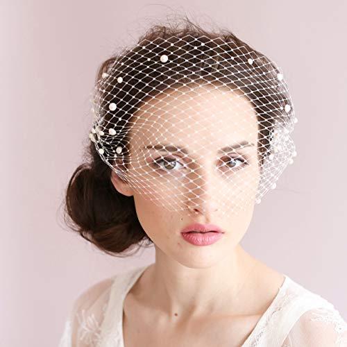 BERYUAN Women Classy Chic White Birdcage Face Veil Pearl Fascinator Bridal Hair Comb Party Headpiece Costume HeadwearFormal Dress (White)