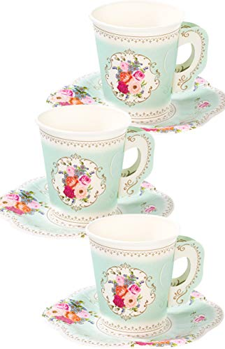 Talking Tables Pack of 12 Vintage Floral Afternoon Tea Saucer Truly Scrumptious | for Adults or Kids Birthday Party, Baby Shower,and Wedding, Paper, Cup Set Mint, Height 8cm, 3'