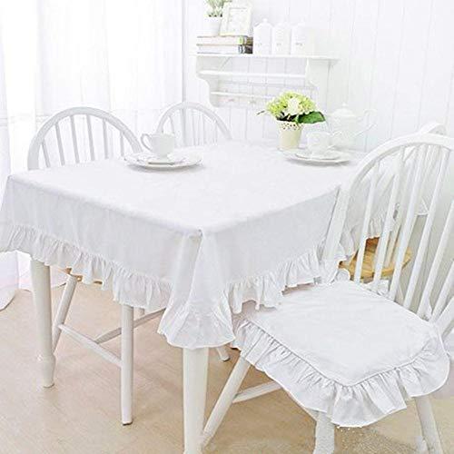 NVT Fresh Mantel de volantes elegante mantel de mesa para decoración de boda, mantel redondo para comedor, dormitorio, mesa de té, 140*180cm