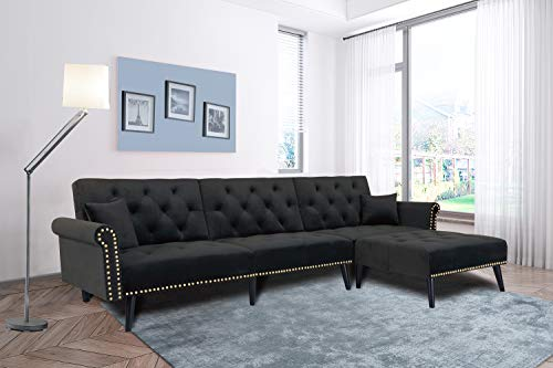 Black Sectional Sofa Sleeper Bed,JULYFOX 900 LB Heavy Duty 115 inch 3 Seater Sectional Sofa W/Chaise Velvet Sofa Futon Modern Day Bed W/Nail Head Trim for Living Room Small Spaces