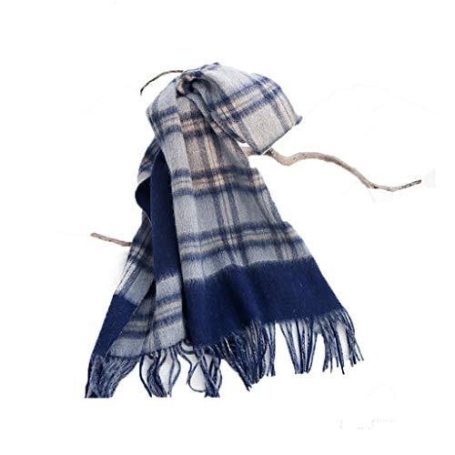 Bufandas Chal Moda con flecos de tela escocesa de los hombres y mujeres de la bufanda de invierno caliente grueso Modelos De Pareja de doble cara de la bufanda Manta Moda Bufandas ( Color : Blue )