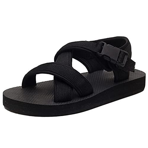 ypyrhh Sandalias Mujer Verano Planas Bohemia,Zapatos de Playa Antideslizantes Word,con Sandalias de Pareja-Negro_41 / 42,Chanclas Slider para Hombre Sandalias