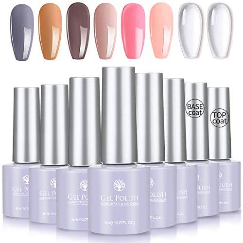 Skymore 8 Stück UV Farbgel Set, UV Nagellack UV Gel Nagelgel Set, UV Farben Nail Gel Polish für Nagel-Design, Nagel Kunst Farbgel Nagelgel