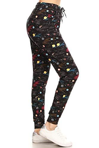 Leggings Depot JGA-S564-M Cosmic Queen Print Jogger Pants w/Pockets, Medium