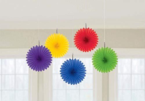 Amscan Regenboog Mini Hangende Ventilatoren Decoraties 15cm