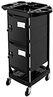 Mefeir Salon Trolley Stylist Cart with 2 Lock 4 Keys, 4 ABS Drawers, Rolling Wheels for Hair Styling, Lockable Beauty Furniture Hairdressing Cabinet Storage Coloring Station