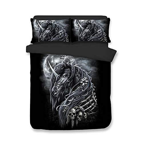 Cnspin 3D Bettbezge Einhorn Bettwsche Set Doppel Bett Super Extra Große DREI-Stck Set 1 Duvet Abdeckung und 2 kissenbezge (3 stcke),E,230CMX260CM