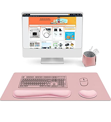 AtailorBird Ergonomische Handgelenkauflage für Mauspad und Tastatur mit Memory Schaum PU Leder Schreibtischunterlage 80x40cm & Mini Aufbewahrungsbox 4 Teilig Set Ideal für Büro und Zuhause - Rosa