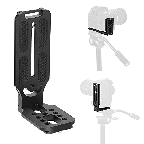 Xwell DSLR Camera Vertical Universal L Bracket Aluminum Quick Release Plate Compatible with DSLR Camera Tripod and MLC Adapt Tripod Head with 1/4 Screw ARCA Standard Head…