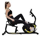 YOTH Ergometer Fitness - Bicicleta estática con sensores de pulso, 8 niveles de resistencia, sillín ajustable, peso del usuario hasta 120 kg