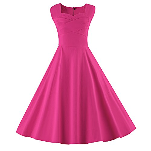 LUOUSE Audrey Hepburn Style Damen Vintage Rockabilly Swing Evening Kleid,Rose,M