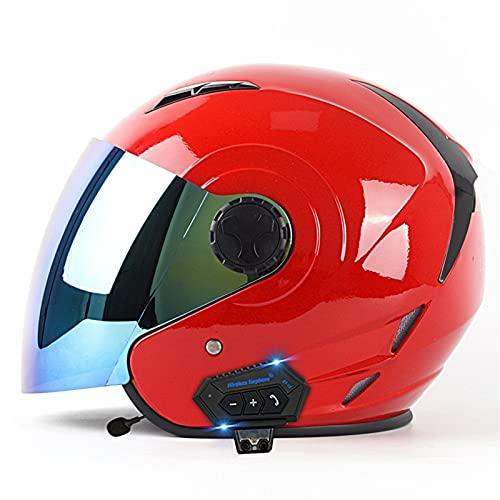 YALIXING Casco de motocicleta para adultos, con Bluetooth, elegante casco medio abierto con gafas, protege eficazmente la cabeza de seguridad aprobada por DOT/ECE para adultos hombres y mujeres