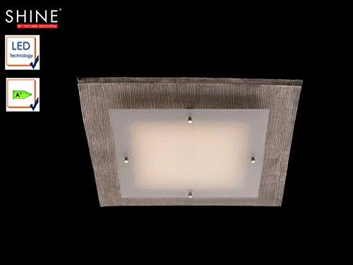 Edle LED Deckenleuchte SHINE-MODULAR, Nickel grau / Glasblende Opal, 40x40 cm, Fischer Leuchten 55271