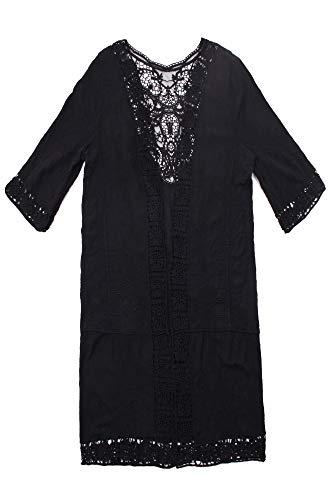GYSEASON Damen Strand Cover Up Long Cotton Bikini Wrap Kimono Gr. M, Schwarz