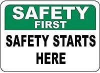 警告サイン-安全第一安全はここから始まります。 通行の危険性屋外防水および防錆金属錫サイン