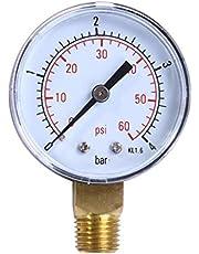 Lorsoul 0-4bar 0-60psi BSPT Hilo Monte Manómetro de Aceite, medidor 50 mm de presión de Agua, compresor de Aire Manómetro Tester