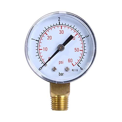 Lorsoul 0-4bar 0-60psi BSPT Supporto del Filetto Olio Manometro, Contatore 50 millimetri di Pressione dell'Acqua, Il compressore d'Aria Manometro Tester