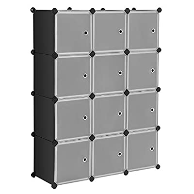 SONGMICS Cube Storage Organizer, 12-Cube Closet Storage Shelves, DIY Plastic Closet Cabinet, Modular Bookcase, Storage Shelving with Doors for Bedroom, Living Room, Office, Black ULPC34HV1