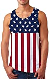 USA Flag Stripes Tank Tops for Men Patriotic Vintage Style Classic Summer Tees