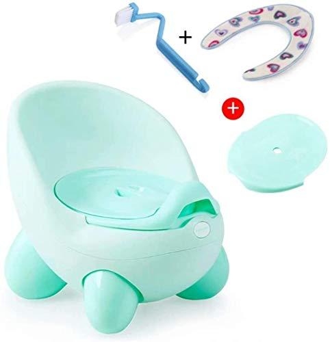 GSWF_OOEFC Design del Sedile per vasino/WC per Bambini Piccoli Vasino Sicuro e Non tossico con Schienale Alto con piedistallo Base Antiscivolo | Design Funky per Ragazzi/Ragazze-Verde Chiaro