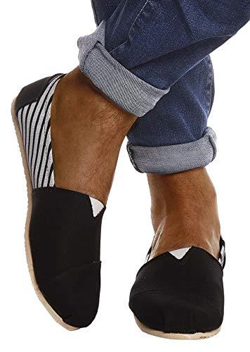 Leif Nelson Herren Espadrilles Gestreifte Schuhe für Freizeit Urlaub Freizeitschuhe für Sommer Flache Männer Sommerschuhe Sneaker Weiße Schuhe für Jungen Slipper LN101S; 44, Schwarz Gestreift