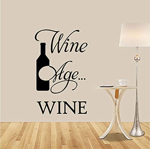 Arte de la pared Mejorar el vino con la edad Mejorar la botella Pegatinas de pared Calcomanías de vinilo Dormitorio Sala de estar Decoración Artisitc Decoraciones 60X40C