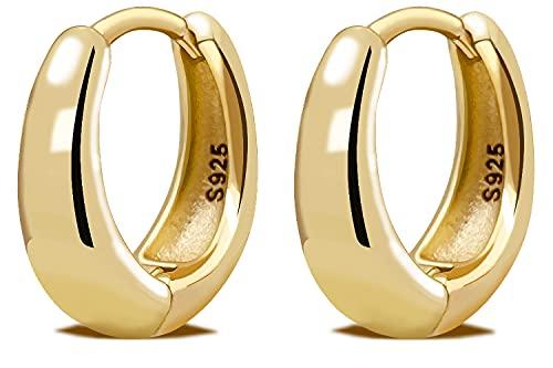 LIHELEI Orecchino a Cerchio Placcato oro 14k per Donna, Orecchini Huggies in Argento Sterling per Matrimonio, Compleanno / regali di Natale-Oro
