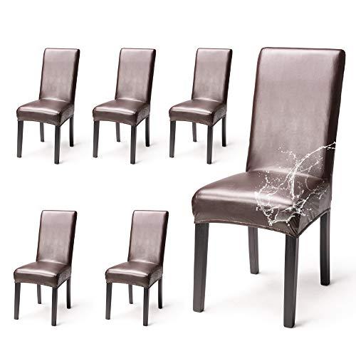 OSVINO 2er/4er Set Stuhlhussen PU Leder Stuhlbezug wasserabweisend Stretch für Haus Büro Restaurant (Braun, 6 Stücke)