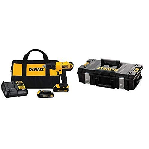 Dewalt DCD771C2 20V MAX Cordless Lithium-Ion 1/2 inch Compact Drill Driver Kit with DEWALT DWST08201 Tough System Case, Small