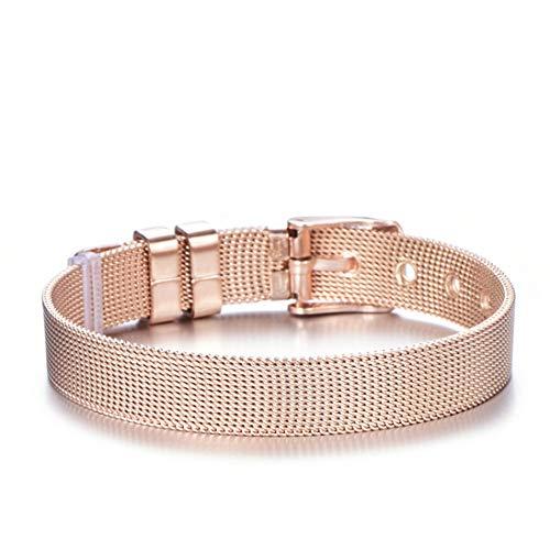 HJPAM Paar sieraden mode roestvrij stalen gaas armband rose goud kristal hart bedelarmband prachtige accessoires